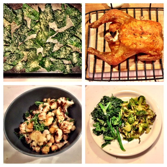 Clockwise from top left: kale chips, super crispy roasted chicken, broccoli rabe with garlic and red chili, spicy brussel sprouts, and roasted cauliflower and chickpeas with mustard and parsley